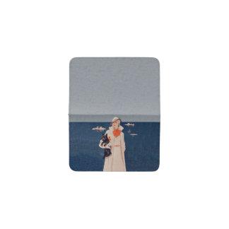 Vintage Lady White Suit Scotty Terrier Dog Ocean Business Card Holder