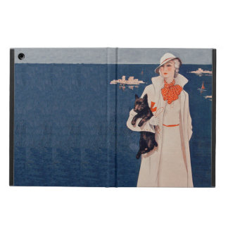 Vintage Lady White Suit Scotty Terrier Dog Ocean Case For iPad Air