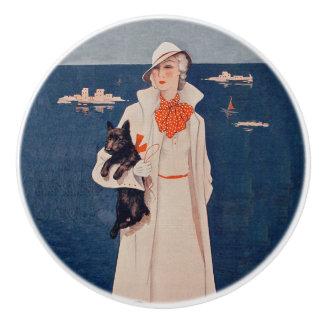 Vintage Lady White Suit Scotty Terrier Dog Ocean Ceramic Knob