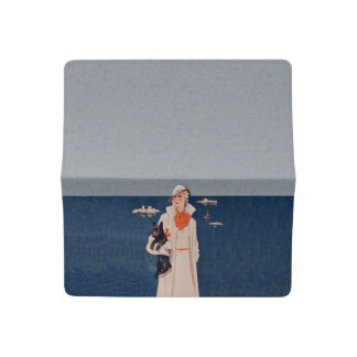 Vintage Lady White Suit Scotty Terrier Dog Ocean Checkbook Cover