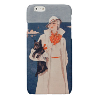 Vintage Lady White Suit Scotty Terrier Dog Ocean Glossy iPhone 6 Case
