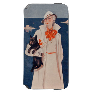 Vintage Lady White Suit Scotty Terrier Dog Ocean iPhone 6/6s Wallet Case