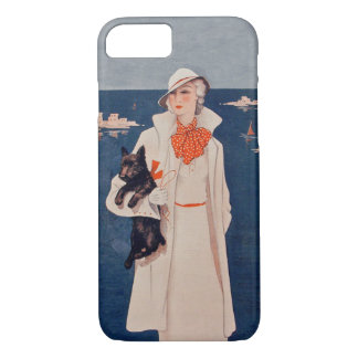 Vintage Lady White Suit Scotty Terrier Dog Ocean iPhone 8/7 Case