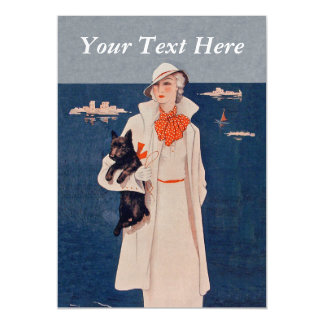 Vintage Lady White Suit Scotty Terrier Dog Ocean Magnetic Card