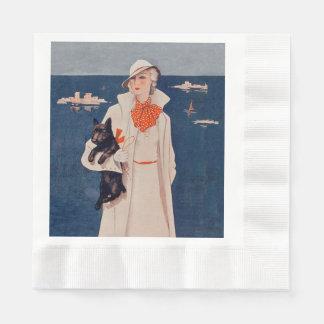 Vintage Lady White Suit Scotty Terrier Dog Ocean Paper Napkin