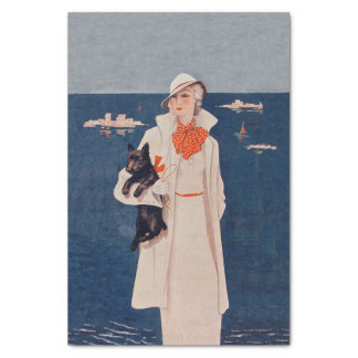 Vintage Lady White Suit Scotty Terrier Dog Ocean Tissue Paper