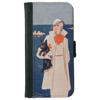 Vintage Lady White Suit Scotty Terrier Dog Ocean Wallet Phone Case For iPhone 6/6s