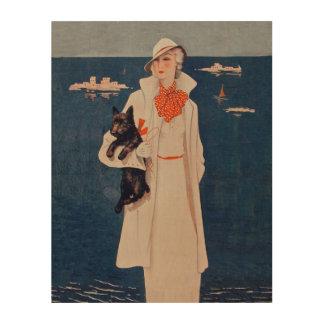 Vintage Lady White Suit Scotty Terrier Dog Ocean Wood Prints