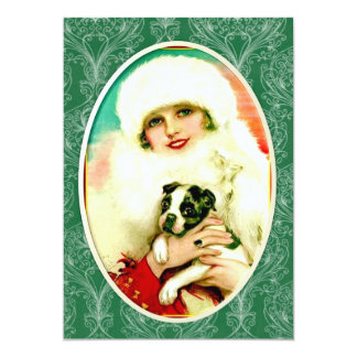 Vintage Lady with Boston Terrier 5x7 Paper Invitation Card