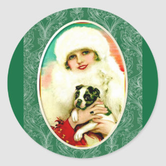 Vintage Lady with Boston Terrier Classic Round Sticker