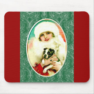 Vintage Lady with Boston Terrier Mouse Pad