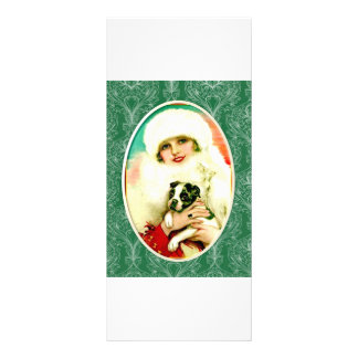 Vintage Lady with Boston Terrier Rack Card Template