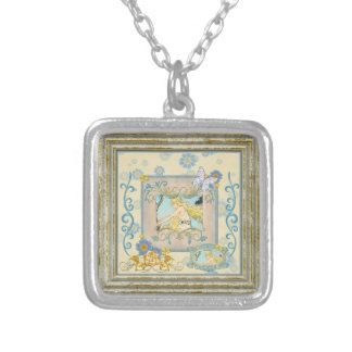 Vintage Lady With Butterfly And Roses Silver Plated Necklace