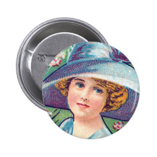Vintage Lady with Hat Button