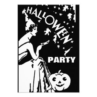 Vintage lady with mask Halloween Personalized Invites