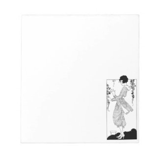 Vintage Lady with Morning Glories Notepad