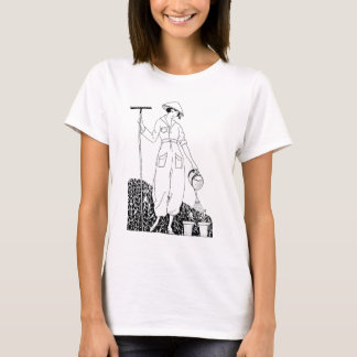 Vintage Lady with Rake in Garden T-Shirt