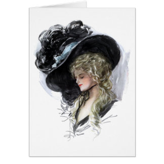 Vintage lady with spectacular blue hat greeting card