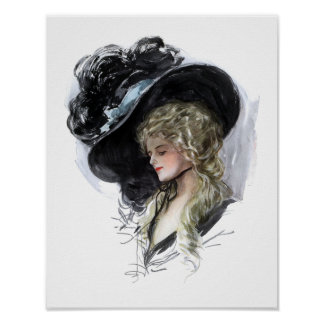 Vintage lady with spectacular blue hat posters