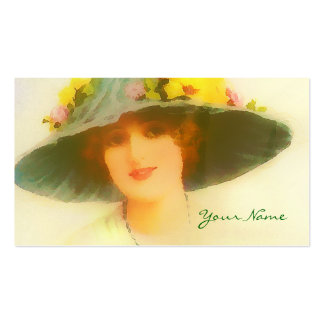 Vintage Lady with spring hat Business Card Templates
