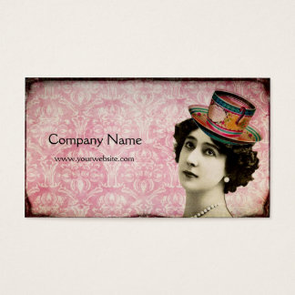 Vintage Lady with Teacup Hat Business Card