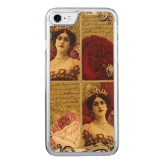 Vintage Lady with Tiara and Roses Collage Carved iPhone 7 Case