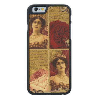 Vintage Lady with Tiara and Roses Collage Carved Maple iPhone 6 Case