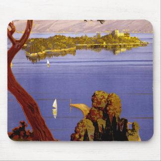 Vintage Lake Garda Italy Travel Poster Mouse Pad