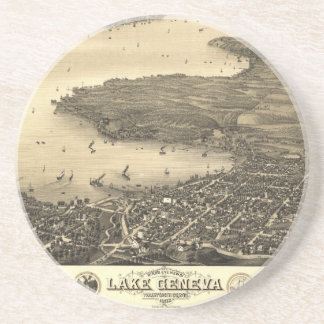 Vintage Lake Geneva Map Drink Coaster