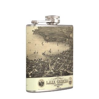 Vintage Lake Geneva Map Flask