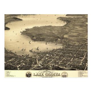Vintage Lake Geneva Map Postcard