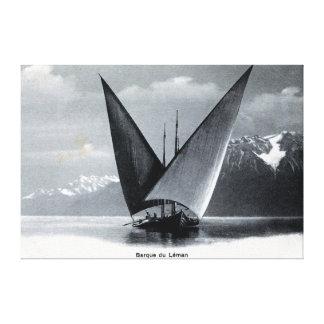 Vintage Lake Geneva sailing boat barque du Léman Gallery Wrapped Canvas