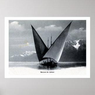 Vintage Lake Geneva sailing boat barque du Léman Posters
