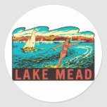 Vintage Lake Mead  Nevada NV State Label Classic Round Sticker
