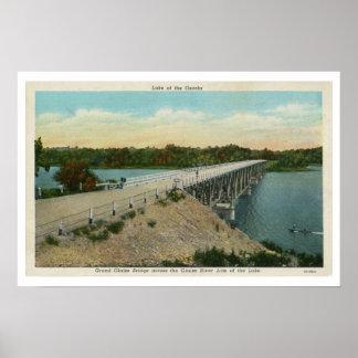 Vintage Lake of the Ozarks, Grand Glaize Bridge Print