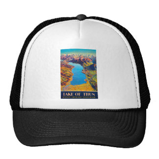 Vintage Lake of Thun Switzerland Travel Trucker Hat