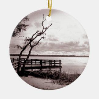 Vintage Lake View Ceramic Ornament