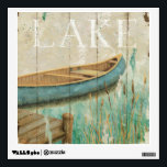 """Vintage Lake Wall Decal<br><div class=""""desc"""">&#169; Daphne Brissonnet / Wild Apple.  A vintage image of a lake and a blue raft. The word Lake can be seen on top of the image.</div>"""