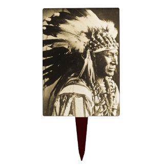 Vintage Lakota Sioux Chief White Swan Cake Topper
