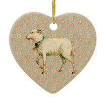 Vintage Lamb Art Ceramic Ornament