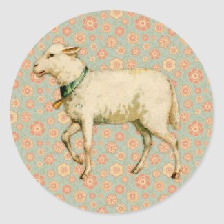 Vintage Lamb Art Classic Round Sticker