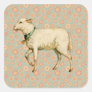 Vintage Lamb Art Square Sticker