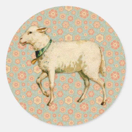 Vintage Lamb Art Round Sticker