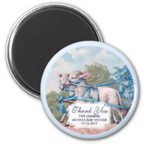 Vintage Lambs Dressed  in Blue Ribbons Baby Shower Magnet