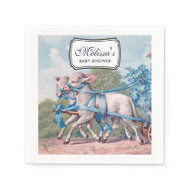 Vintage Lambs Dressed  in Blue Ribbons Baby Shower Napkin