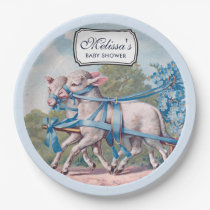 Vintage Lambs Dressed  in Blue Ribbons Baby Shower Paper Plate