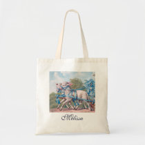 Vintage Lambs Dressed  in Blue Ribbons Tote Bag