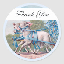 Vintage Lambs Dressed  in Fancy Blue Ribbons Classic Round Sticker