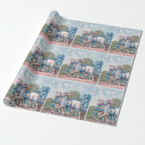 Vintage Lambs Dressed  in Fancy Blue Ribbons Wrapping Paper
