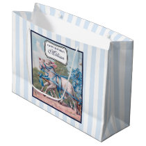 Vintage Lambs in Blue Ribbons on Stripes Birthday Large Gift Bag